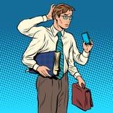 Концепция дела много случаи мульти-вооруженный бизнесмен иллюстрация вектора