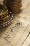 Концепция дела монетки и диаграммы Стоковое Изображение RF