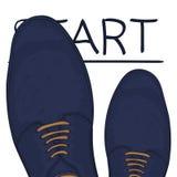 Концепция дела начиная черту Ноги в ботинках на дороге выбор делает вектор бесплатная иллюстрация