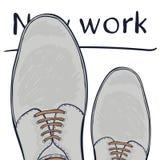 Концепция дела новая работа Ноги в ботинках на дороге выбор делает вектор иллюстрация вектора