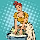 Концепция дела отмывания денег, ретро женщина моет доллар иллюстрация вектора
