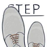 Концепция дела предпринимает меры следующий шаг Ноги на дороге выбор делает вектор иллюстрация штока