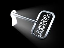 Концепция дела: Прибывающий маркетинг на ключе иллюстрация штока