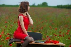 Концепция дела сняла красивой молодой женщины сидя на столе используя компьютер в поле Стоковое Изображение