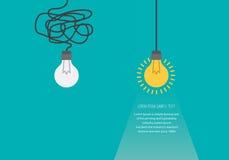 Концепция дела с лампочками как символ идеи, творческих способностей, думает концепция Стоковая Фотография