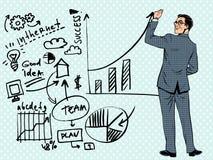 Концепция дела чертежа бизнесмена успеха иллюстрация вектора