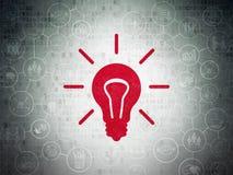 Концепция дела: Электрическая лампочка на бумаге цифров Стоковая Фотография RF
