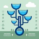 Концепция дела Infographic с значками - емкость и система труб vector иллюстрация Стоковые Изображения