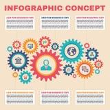 Концепция дела Infographic с шестернями, значками и блками текста для представления, буклета, вебсайта и других творческих проект Стоковое Изображение RF