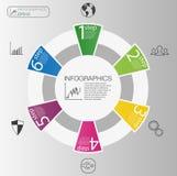 Концепция делового круга infographic Элементы круга вектора для infographic Шаблон infographic 6 располагает, шаги Стоковое Изображение