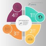 Концепция делового круга infographic Элементы круга вектора для infographic Шаблон infographic 4 располагает, шаги Стоковые Изображения RF