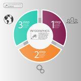 Концепция делового круга infographic Элементы круга вектора для infographic Шаблон infographic 3 располагает, шаги Стоковые Изображения RF