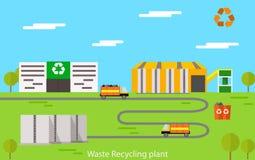 Концепция завода по переработке вторичного сырья иллюстрация штока