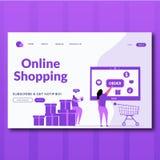 Концепция заказа онлайн ходя по магазинам с характером r Приземляясь страница для сети бесплатная иллюстрация