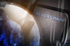 Концепция закрытия, защиты Blockchain технологии, шифрование интернет-трафика стоковая фотография rf