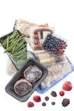 Концепция замерзать, пук мяса замороженных продуктов, овощей, рыб, плодоовощей, на белой предпосылке Стоковое Изображение