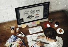 Концепция запуска чертежа студии дизайна занятия идей творческая Стоковое Изображение