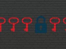 Концепция защиты: голубой закрытый значок padlock дальше Стоковые Изображения RF