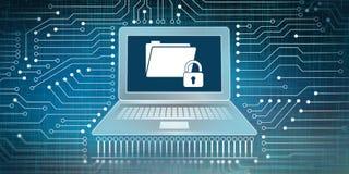 Концепция защиты данных и сетевого подключения бесплатная иллюстрация
