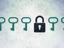 Концепция защиты: закрытый значок padlock на цифров Стоковые Изображения