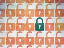 Концепция защиты: закрытый значок padlock на цифров Стоковое фото RF