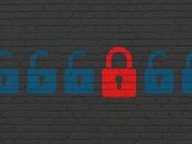 Концепция защиты: красный закрытый значок padlock дальше Стоковые Изображения RF