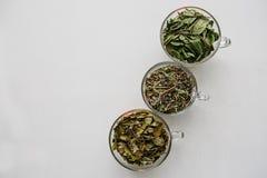 Концепция здорового образа жизни Много различных ингридиентов для делать травяной чай внутри кружек Стоковое Изображение RF