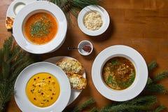 Концепция здоровых супов овоща и бобов красный суп Harcho, суп чечевицы, желтый суп сливк тыквы с пармезаном и мини bague Стоковое фото RF