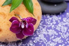 Концепция здоровья спа Естественные ванна пены & губка моря ливня, штабелированные камни базальта, бамбук, цветок орхидеи и соль  стоковое фото rf