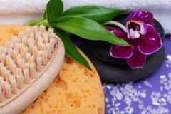 Концепция здоровья спа Пенятся губка моря ванна & ливень, щетка естественной щетинки деревянные, камни базальта, бамбук и цветок  стоковое изображение