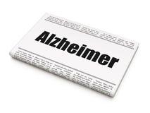 Концепция здравоохранения: газетный заголовок Alzheimer Стоковая Фотография
