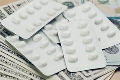 Концепция здравоохранения и медицинской промышленности, белый пакет пилюлек Стоковое Фото