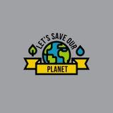 Концепция зеленого цвета дня окружающей среды с глобусом, лист и падением Стоковые Фотографии RF