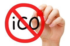 Концепция знака запрета запрета ICO стоковые изображения