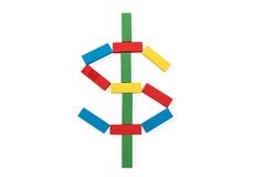 Концепция знака доллара деревянная Стоковое Изображение