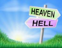 Концепция знака рая или ада Стоковые Изображения