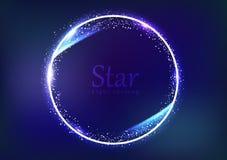 Концепция знамени галактики и космоса рамки звезды, взрыв пыли влияния искры кругового света кольца светя накаляя разбрасывает яр иллюстрация вектора