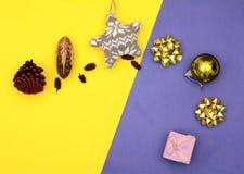 Концепция знамени рождества с подарками и copyspace Стоковое Фото
