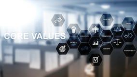 Концепция значений ядра на виртуальном экране Решения дела и финансов стоковые фото
