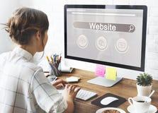 Концепция значка облака глобуса игрока бара поиска вебсайта Стоковые Изображения