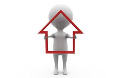 концепция значка дома человека 3d Стоковые Изображения