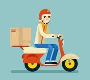 Концепция значка символа коробки самоката мотоцикла курьера поставки изолированная на иллюстрации вектора дизайна зеленой предпос Стоковое Изображение