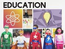 Концепция значков физики науки образования графическая Стоковое Изображение