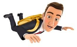 концепция золотого парашюта бизнесмена 3d Стоковые Фотографии RF