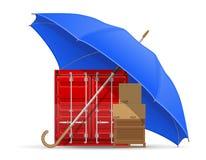 Концепция зонтика защищенного и застрахованного груза Стоковые Изображения