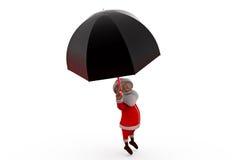 концепция зонтика 3d Санта Клауса Стоковое Фото