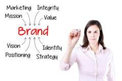 Концепция здания бренда сочинительства бизнес-леди Изолировано на белизне Стоковая Фотография