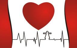 Концепция здоровья, красное сердце и cardiogram Стоковое фото RF