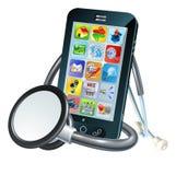 Концепция здоровья мобильного телефона иллюстрация штока