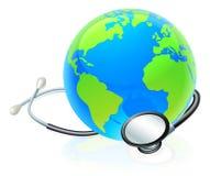Концепция здоровья стетоскопа глобуса мира земли Стоковые Изображения